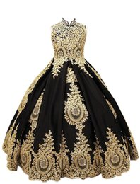 high backed corset NZ - 2019 Princess Ball Gown Flower Girls Dresses High Neck Corset Back Gold Appliques Black Tulle Girls Pageant Gown First Communion Dresses