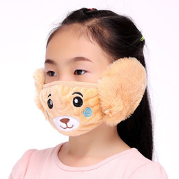 cycling ear warmers 2019 - Cartoon Animal Shape 2 In 1 Plush Dustproof Windproof Travel Cycling Warm Ear Protection Children Face Mouth Mask discou