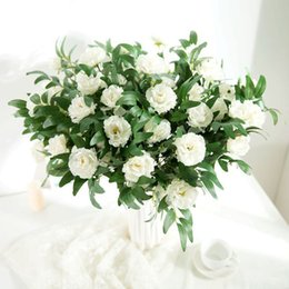 white pink flower bouquet NZ - 3Heads White Artificial Bouquet Rose Flower Wedding Decoration Floral Fak Fresh Forest Flower Arrangement Home Decor Flower Bouquet