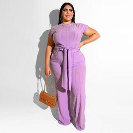 $enCountryForm.capitalKeyWord Australia - Summer Designer Womens 2pcs Pants Womens Solid Plus Size Suits Fashion Panelled Jumpsuit with Ribbon