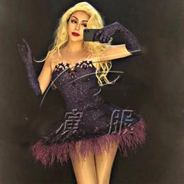 Woman Tutus Australia - Modern Nightclub Dress Female Singer Dj Ds Feather Skirt Tutu Gloves Set Women Party Celebrate Stage Performance Costume DWY1355
