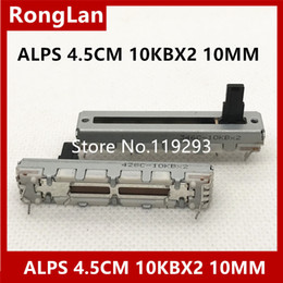 Chinese  [BELLA]ALPS 4.5 cm 45MM sliding potentiometer double B10KX2 10KBX2 B10K 10MM axis.--10PCS LOT manufacturers