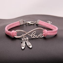 $enCountryForm.capitalKeyWord NZ - Silver Simple Infinity Love Dance Shoes Charm Bracelet Bangles For Women Men Luxury Pink Leather Suede Jewelry Costume Jewellery Party Gifts