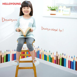 $enCountryForm.capitalKeyWord Australia - DIY Home Decorative Creative Pencil Baseboard Wall Stickers For Kids Rooms Waterproof Wallpapers Mural All-match Style