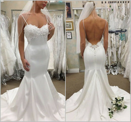 Chinese  2019 Sexy New Custom Made Elegant Wedding Dresses Sleeveless Court Train Spaghetti Straps Backless Plus Size 4 6 8 10 12 14 16 18 manufacturers