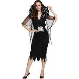 Wholesale black spider woman costume for sale – halloween halloween black Sexy vampire costumes for women spider Evil queen Cosplay Dress corpse bride skeleton Day of the Dead Costume