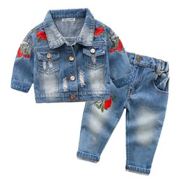 halloween t shirts for kids Australia - Children Clothing 2020 Spring Toddler Girl Clothes Coat+T-shirt+Jeans 3pcs Outfit Kids Clothes Tracksuit For Girls Clothing Sets