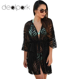 Wholesale cardigan kimono for sale - Group buy Women Kimono Cardigan Ladies Summer Tops Solid Open Front Boho Loose Outerwear Beach Bikini Cover Ups Plus Size XL Black
