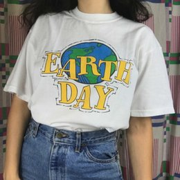 Abbigliamento Donna Donna Shirt Earth Day 90S estetici Donne Bambine Tumblr Fashion Street Style cotone Sveglio Top Tees Hipster Dropship