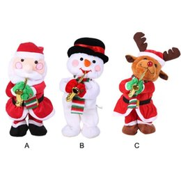 dance christmas ornament NZ - Santa Claus Snowman Doll with Music Sway Saxophone Christmas Foyer Decoration Trumpet Singing Dancing Toys Christmas Decorations