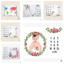 photography props blankets 2019 - Letters Blankets Newborn Baby Flower Unicorn Printed Wrap Blanket Infant Stroller Bedding Cover c Photography Prop 6 Col