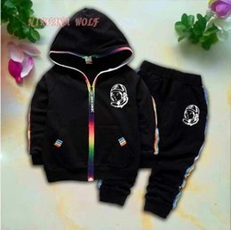 $enCountryForm.capitalKeyWord Australia - BOYS CLUB Kids Cardigan Coats And Pants 2Pcs sets 1-4T Children Sports Sets Rainbow Zipper Astronaut Design Long Sleeve Colorful Striped