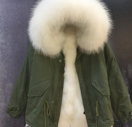 lined green army parka Australia - hot sale white raccoon fur trim Mukla furs brand Women snow jackets white fox fur lined army green canvas mini parka with ykk zipper
