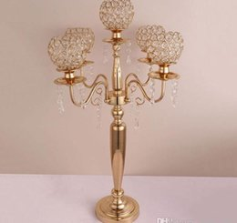 gold wedding candelabra wholesale Australia - 73cm tall New Candle Holders 5-arms 3-arms Candle Stand Wedding Decoration Candelabra Centerpiece Candlestick Silver Gold decor SN2138