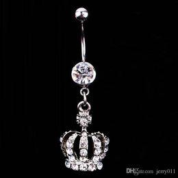 $enCountryForm.capitalKeyWord Australia - Hot Sale Crown Charm Rhinestone Body Piercing Jewelry Belly Button Ring Navel Jewelry Drop Shipping Body-0164