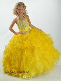 $enCountryForm.capitalKeyWord Australia - Beauty Girl's Pageant Dress Halter Crystal Organza Party Cupcake Flower Girl Pretty Dress For Little Kid