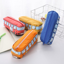 toy school buses Canada - 2019 Newest Creative Cute Students Kids Cars School Bus Pencil Case Bag Cosmetic Makeup Bag Stationery Bags 4 Colors Toy Gift M324F