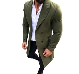 mens short double breasted coat Australia - Mens Trench Coat New Fashion Designer Men Long Coat Autumn Winter Double-breasted Windproof Slim Trench Coat Men Plus Size