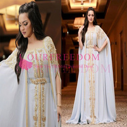 Chinese  Kaftan Dubai Arabic 2020 White Chiffon Evening Dresses Gold Appliques Pearls Bateau Neck Floor Length Formal Occasion Prom Party Dresses manufacturers