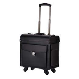 Discount box wheels BeaSumore Men Retro 18 inch Cabin Travel Bag PU Leather Wheel Suitcases Business Flight Box
