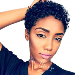 Afro Kinky Human Hair Wigs Australia - Afro Kinky Curly Short Machine Made Bob Wigs For Black Women Natural Black Color Africa Style Brazilian Non lace wigs Remy Human Hair Wig