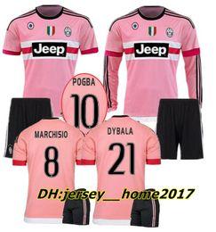 ff79154b3ac Adult kit 2015 2016 long sleeve Pink DYBALA Juventus Ronaldo Soccer Jerseys  CHIELLINI POGBA MARCHISIO Italia 15 16 Football Jersey Shirts