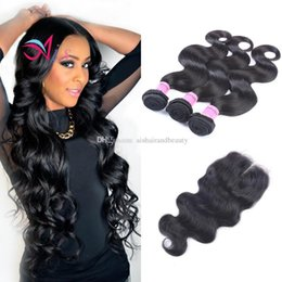 HigH quality Human Hair weave online shopping - AiS Indian Virgin Human Hair Weaves Body Wave Natual B Color Bundles With Closure x4 Unprocessed High Quality