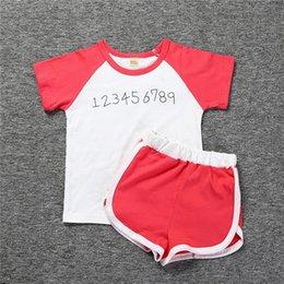 T Shirt Digital Printing Sport Australia - 2017 Summer Baby Clothes 2 PCS Set Hot Sell Cotton Letter Digital Printing T-shirt Shorts Boys Girls Casual Sports Suit Kids Children Set X2