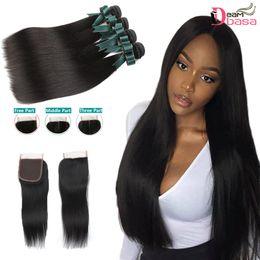 remy hair weft closure 2019 - Brazilian Straight Virgin Hair Bundles with Closure Brazilian Straight Human Hair 3 Bundles with Lace Closure Unprocesse