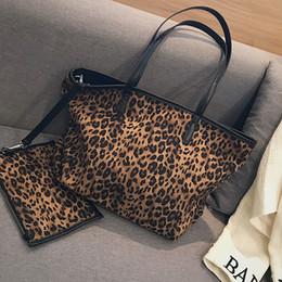 Hand Bags Leopard Prints Australia - Designer 2 Pcs Set Plush big bag female 2019 new tide leopard print zipper shoulder bagslarge-capacity tote shopping Hand bags handbag