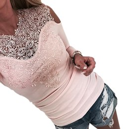 woman lace long NZ - Off Shoulder Top Autumn Patchwork Lace Women T-shirt 2019 New Fashion Shirts Solid Sexy Tshirt Long Sleeve Slim Tee Jumper GV256