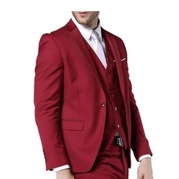 China Mens Suits Pop Fashion Clothing Latest Coat Pant Designs Three Piece Suit Men Slim Fit Suits Red Wedding For Men supplier dark pink clothing suppliers