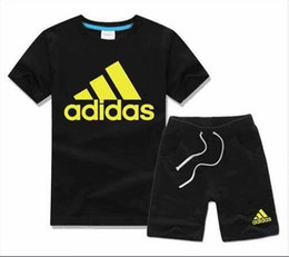 boys cotton beach pants Australia - Summer children's T-shirt shorts pants boys cotton shirt children's sportswear sports suit 2 pieces   set of short-sleeved beach T-shirt