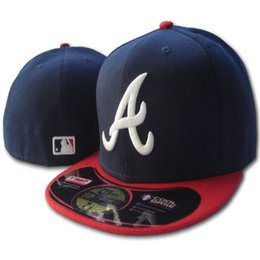 EmbroidErEd logos hats online shopping - Many Colors Men Braves Fitted hats flat Brim embroidered A logo on field Atlanta fans baseball Hats full closed cap