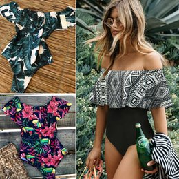 one shoulder swimsuit black Australia - 2019 Sexy Off Shoulder One Piece Swimsuit Women Swimwear Push Up Monokini Ruffle Bodysuit Solid Swimsuit Hollow Out Bathing Suit Y19072401