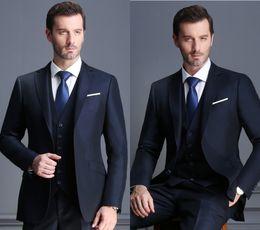 weddings dress pants 2019 - Lapel Groom Tuxedos 2 Button Men Suits Men's Business Casual Suit Dress Double Slit Slim Wedding Dress Suit (Jacket