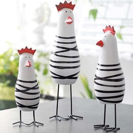 Ornament decOratiOns online shopping - Home Decorative Craft Little Happy Chicken Family Set Wood Chicken Decoration Figurine Miniatures Ornaments Gift