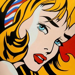 Portrait Size Australia - Roy Lichtenstein Girl with Hair Ribbon High Quality HandPainted &HD Print Portrait Wall Art Oil Painting On Canvas Home Decor Multi Size 23!