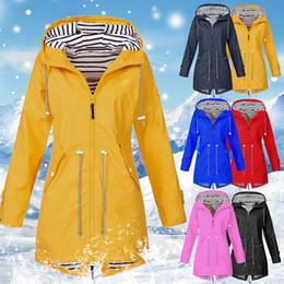 Discount rain coat mans - Drop shipping MoneRffi Women's Raincoat Jacket Coat Transition Jacket Sunset Long Autumn and Winter Rain Coat