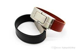 Leather Flash Drive Australia - 100% real capacity black brown leather Wrist model usb flash drive usb 2.0 4GB 8GB 16GB 32GB 64GB pen drive Free Shipping