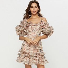 Mais novo 2019 Designer de Runway Dress Spaghetti Strap Cascading Ruffle Floral Casual das mulheres Vestido venda por atacado