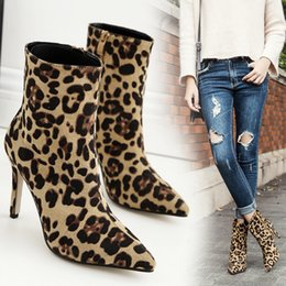 ankle knot NZ - Women Boots Leopard print Ankle Boots For Women Rome Style Pointed Toe Winter Female Shoes Size 35-43 Botas Mujer fgb78