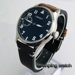 6497 watch case online shopping - 44mm CORGEUT silver case black dial leather strap Jewels mechanical hand winding movement luminous mens watch