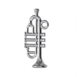 Chinese  lemegeton Silver Color Saxophone Music Instrument Charms for Jewelry Making Jazz Trumpet Pendant for DIY Necklace manufacturers
