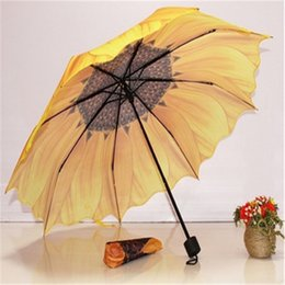 3d umbrella wholesale NZ - Sunflower Folding Umbrella Parasol Sun Rain for Women Traveling Creative Fashion Large Outdoor Supplies 3D High Quality