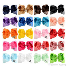 $enCountryForm.capitalKeyWord Australia - Designer Baby 20 Colors 8 Inch Ribbon Bow Hairpin Clips Girls Large Solid Bowknot Barrette Kids Hair Boutique Bows Children Hair Accessories