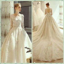 Long taiL skirts online shopping - Autumn Vintage Jewel Neck Long Sleeve Wedding Dress D Floral Appliques Wedding Dress Bridal Gowns with Long Tail Bridal Dress Wedding