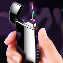 $enCountryForm.capitalKeyWord Australia - Dual Arc Electronic Cigarette Lighter USB Metal Rechargeable Windproof Flameless Electric Lighters Plasma Cigar Lighter DLH233