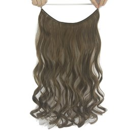 Blonde Halo Hair Australia - Long Curly Brown Blonde Synthetic Hair Fish Line Halo Invisible Hair Hair Accessories For Women