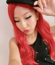 Red anime haiR wig online shopping - WIG full Wig Harajuku Girl Lolita Long Wavy Red Fashion Hair Bangs Anime Cosplay